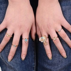 Boho vintage antique gold rings midi set of 6